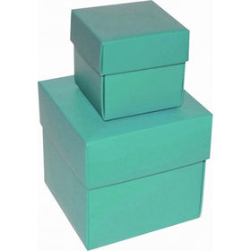Aqua Green Square Matt Laminated Gift Boxes - 2 Pieces