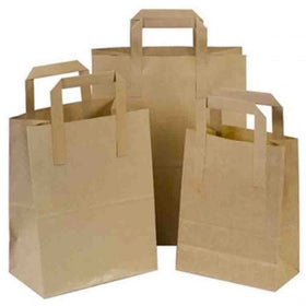 Natural Brown Carrier Bag Flat Handle