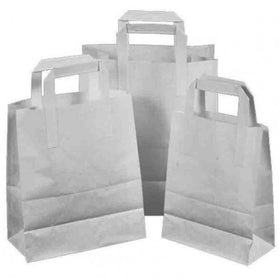 Natural White Carrier Bag Flat Handle