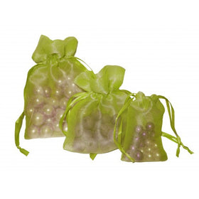 Olive Drab Organza Drawstring Pouch Bags
