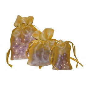 Olive Gold Organza Drawstring Pouch Bags