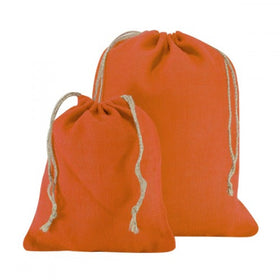 Orange Natural Jute Drawstring Bags
