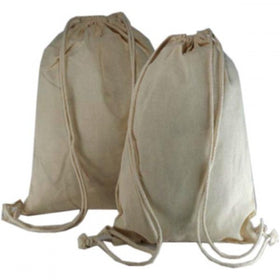 Plain Natural Cotton Backpack Bags