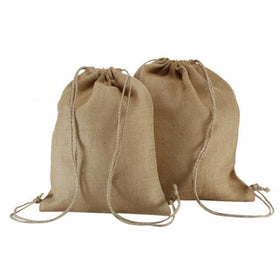 Plain Natural Jute Backpack Bags