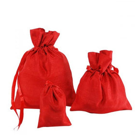 Red Dupion Silk Drawstring Pouch Bags