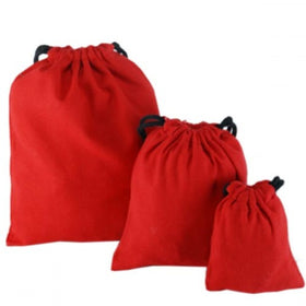Red Natural Cotton Drawstring Pouch Bags