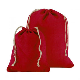 Red Natural Jute Drawstring Bags