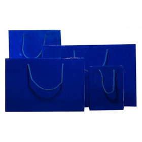 Royal Blue Gloss Laminated Carrier Bags Rope Handle