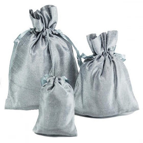 Silver Dupion Silk Drawstring Pouch Bags