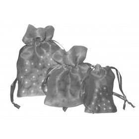 Silver Organza Drawstring Pouch Bags