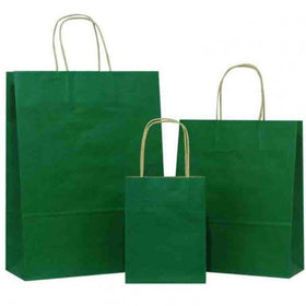Dark Green Twisted Handle Brown Paper Carrier Bags