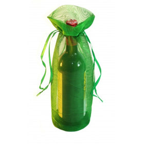 Dark Green Organza Wine Drawstring Pouch Bags