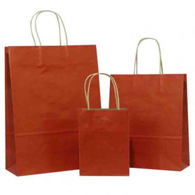 Dark Red Twisted Handle Brown Paper Carrier Bags