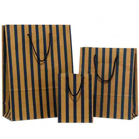 Stripes Blue Brown Carrier Bags Rope Handle