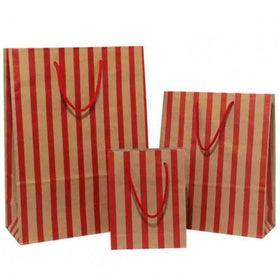 Stripes Red Brown Carrier Bag Rope Handle