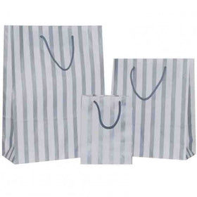 Stripes Silver Carrier Bag Rope Handle