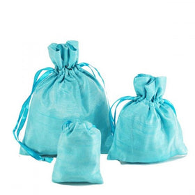 Turquoise Blue Dupion Silk Drawstring Pouch Bags