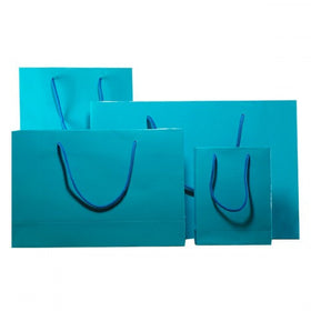 Turquoise Blue Gloss Laminated Carrier Bags Rope Handle