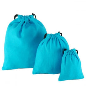 Turquoise Blue Natural Cotton Drawstring Pouch Bags