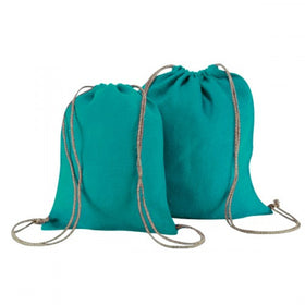 Turquoise Blue Natural Jute Backpack Bags