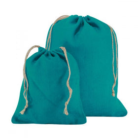 Turquoise Blue Natural Jute Drawstring Bags