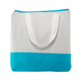 White Aqua Blue Natural Cotton Dualtone Bags