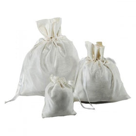 White Dupion Silk Drawstring Pouch Bags