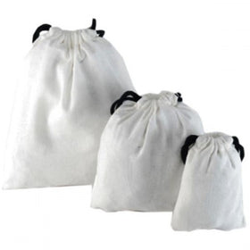 White Natural Cotton Drawstring Pouch Bags