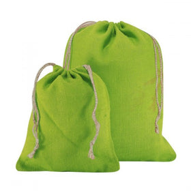 X Mas Green Natural Jute Drawstring Bags