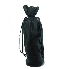 Black Dupion Silk Wine Drawstring Pouch Bags