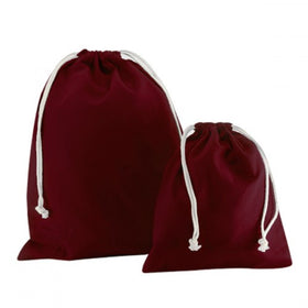 Burgundy Canvas Drawstring Bags