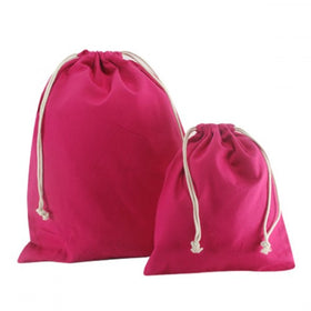 Fuchsia Canvas Drawstring Bags