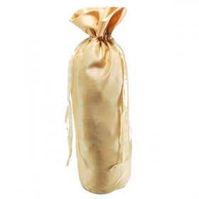 Gold Dupion Silk Wine Drawstring Pouch Bags