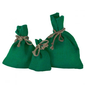 Green Jute Drawstring Pouch Bags