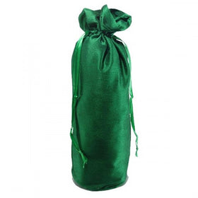 Green Dupion Silk Wine Drawstring Pouch Bags