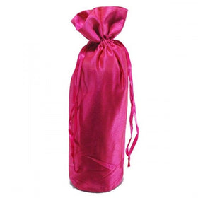 Hot Pink Dupion Silk Wine Drawstring Pouch Bags