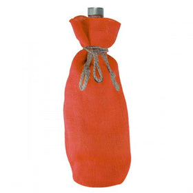 Orange Jute Wine Drawstring Pouch Bags