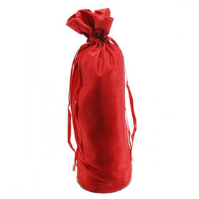 Red Dupion Silk Wine Drawstring Pouch Bags