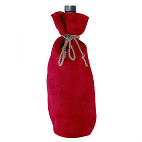 Red Jute Wine Drawstring Pouch Bags