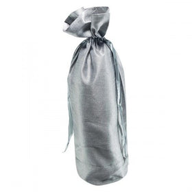 Silver Dupion Silk Wine Drawstring Pouch Bags