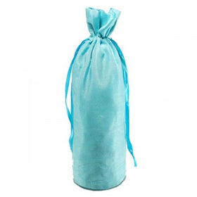 Turquoise Blue Dupion Silk Wine Drawstring Pouch Bags