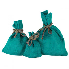 Turquoise Blue Jute Drawstring Pouch Bags
