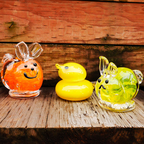 Sculpted glass bunnies and peeps - make your own