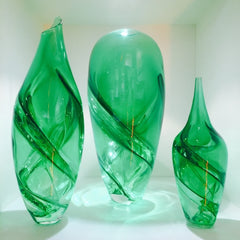Lenoard Whitfield blown glass spirelli vases