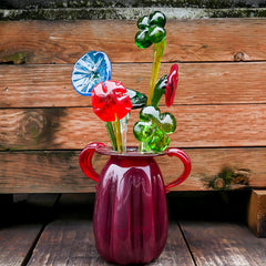 Sculpted glass flowers and shamrocks
