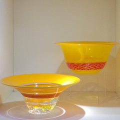 Chuck Jensen blown glass - Reticello and paper weight bowls