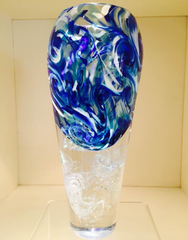 hand blown glass waterfall paperweight vase with ash