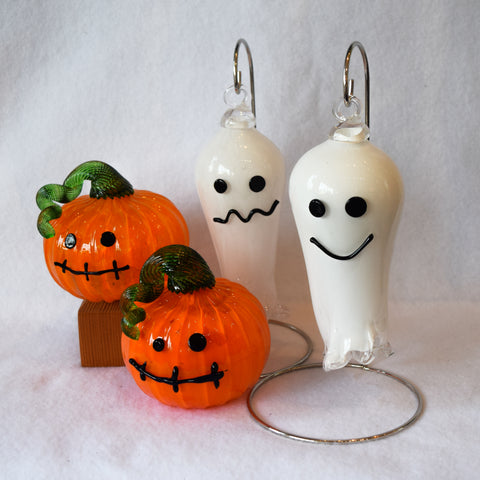 Blown glass Jack o'Lanterns and Ghosts