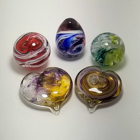 Glass Paperweights - round, heart and egg