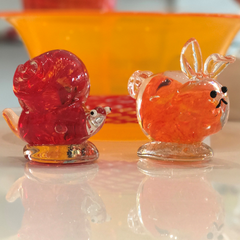 Sculpted glass snail and sculpted glass bunny rabbit